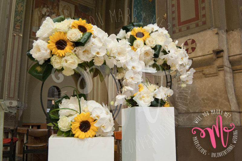 girasoli chiesa nozze