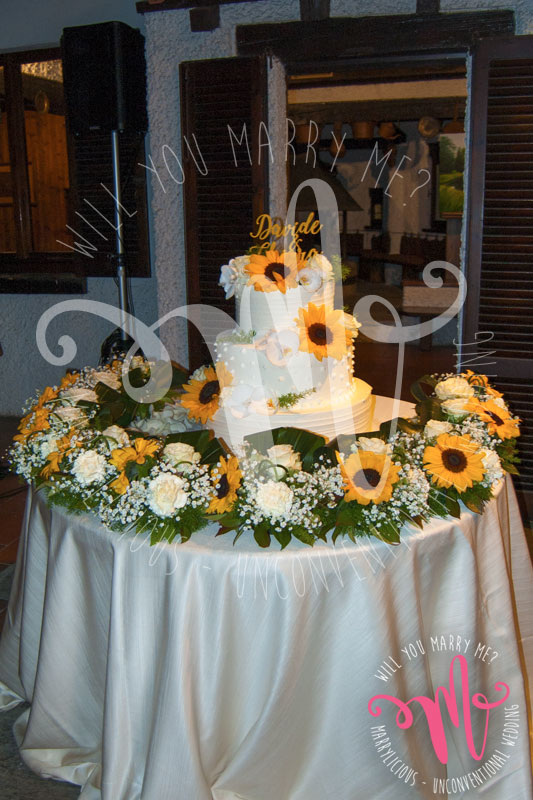 torta matrimonio girasoli